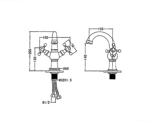 SJ-FD13-1, 황동원홀양손핸들세면수전